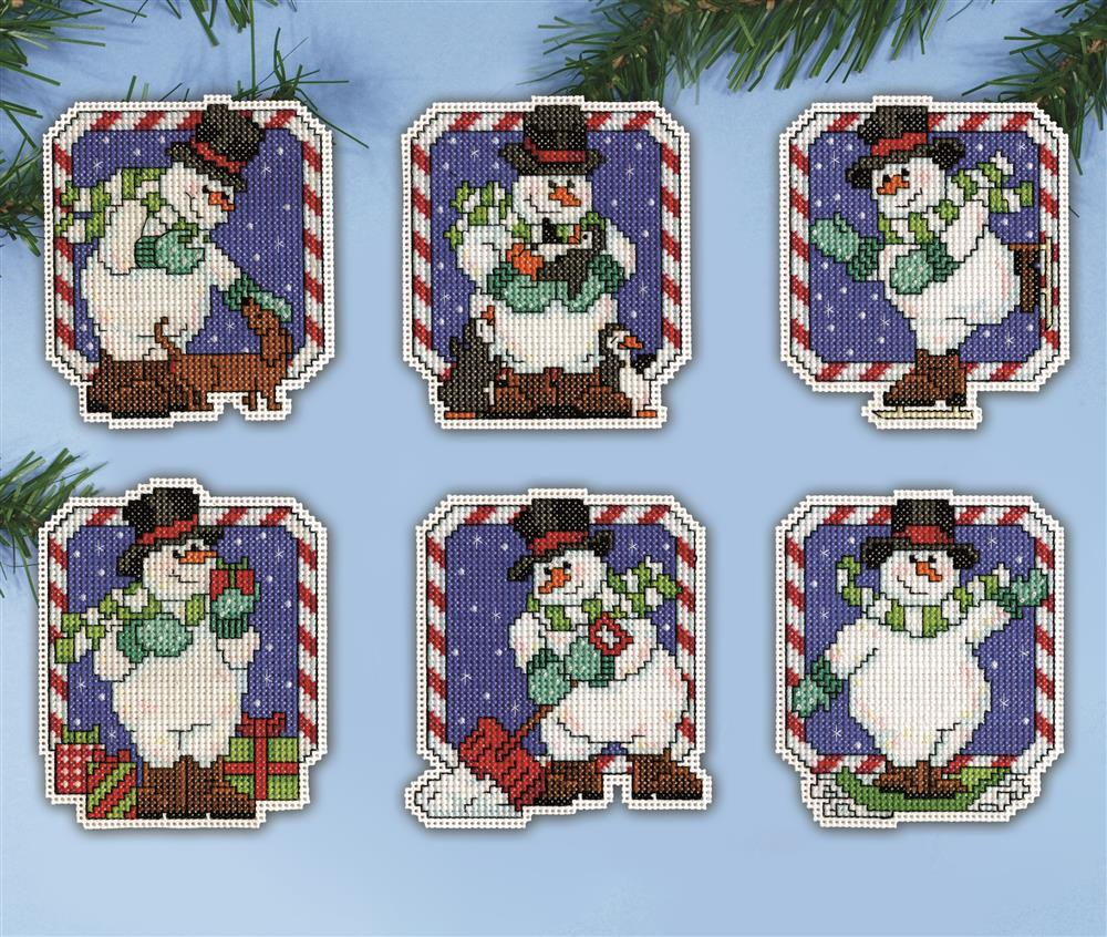 Design Works Crafts Candy Cane Snowman Ornaments Christmas Cross Stitch Kit
