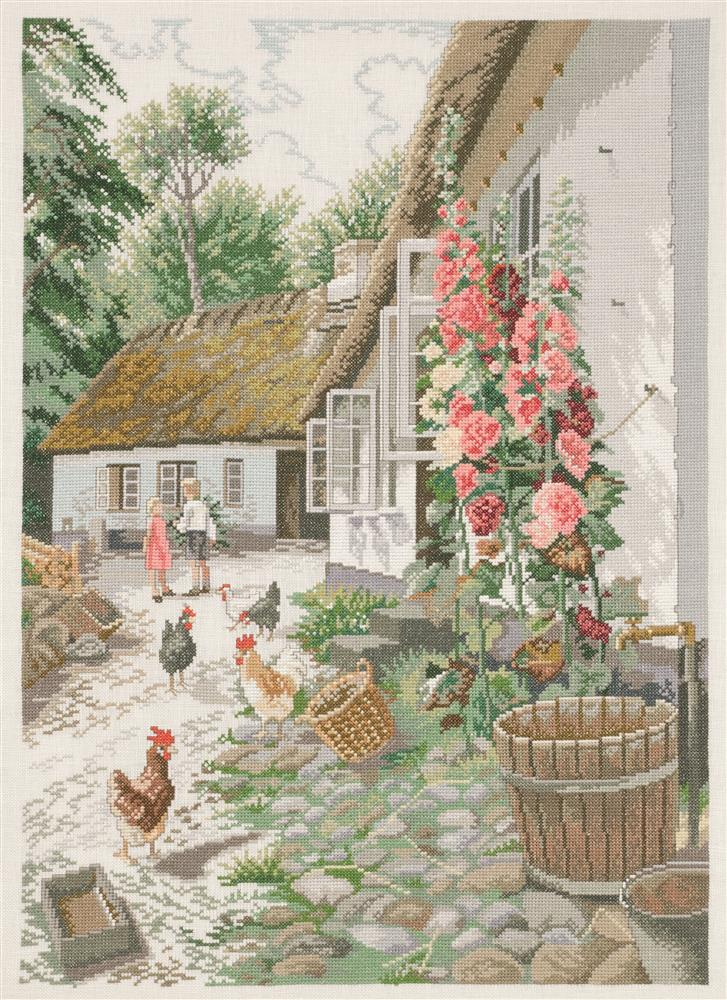 Eva Rosenstand Hollyhocks Cross Stitch Kit