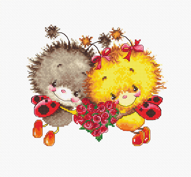 Luca-S Ladybug Love Wedding Sampler Cross Stitch Kit