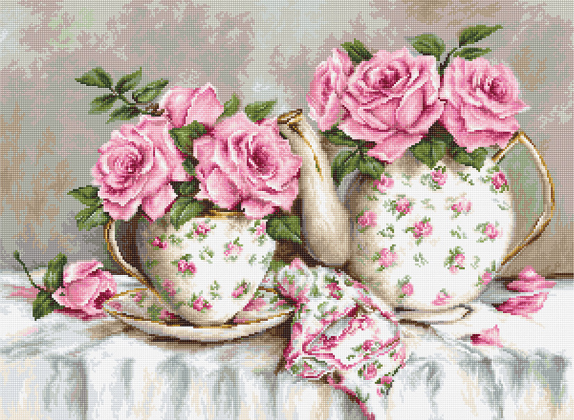 Luca-S Morning Tea and Roses on Aida Cross Stitch Kit