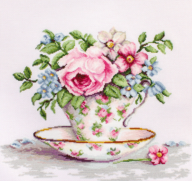 Blooms in a Teacup on Aida -  Cross Stitch Kit