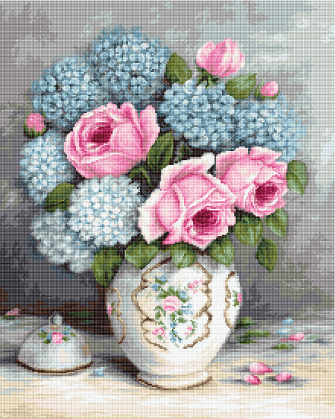 Luca-S Roses and Hydrangeas on Aida Cross Stitch Kit