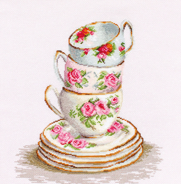 Three Stacked Cups on Aida -  Cross Stitch Kit