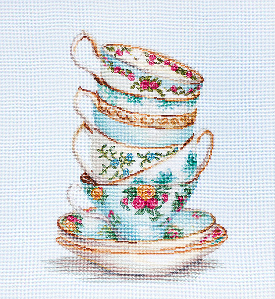 Luca-S Turquoise Tea Cups on Aida Cross Stitch Kit