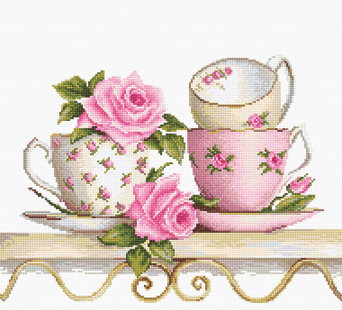 Luca-S Stack of Teacups Cross Stitch Kit