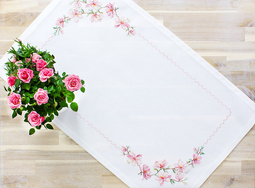 Blossom Table Topper -  Cross Stitch Kit