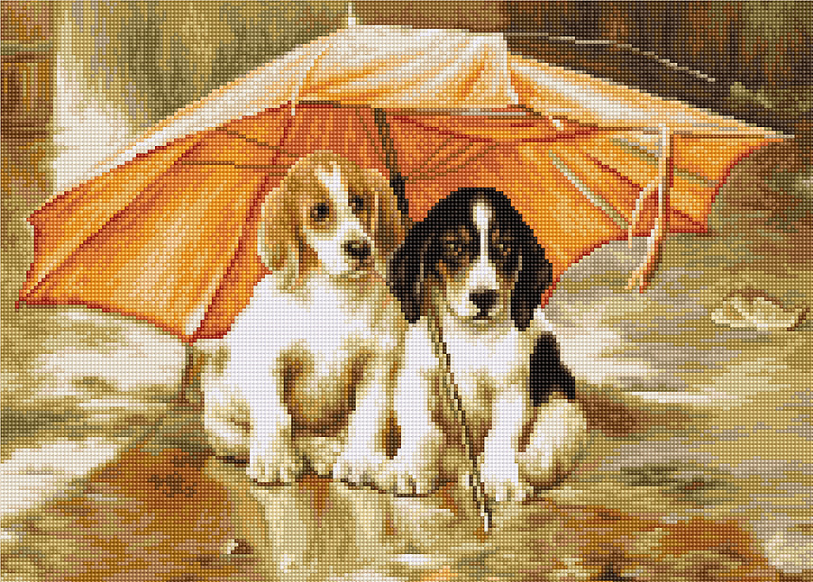Luca-S Dogs Under an Umbrella - Petit Point Tapestry Kit