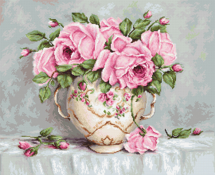Pink Roses - Petit Point -  Tapestry Kit