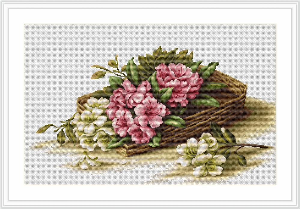 Luca-S Basket with Flowers - Petit Point Tapestry Kit