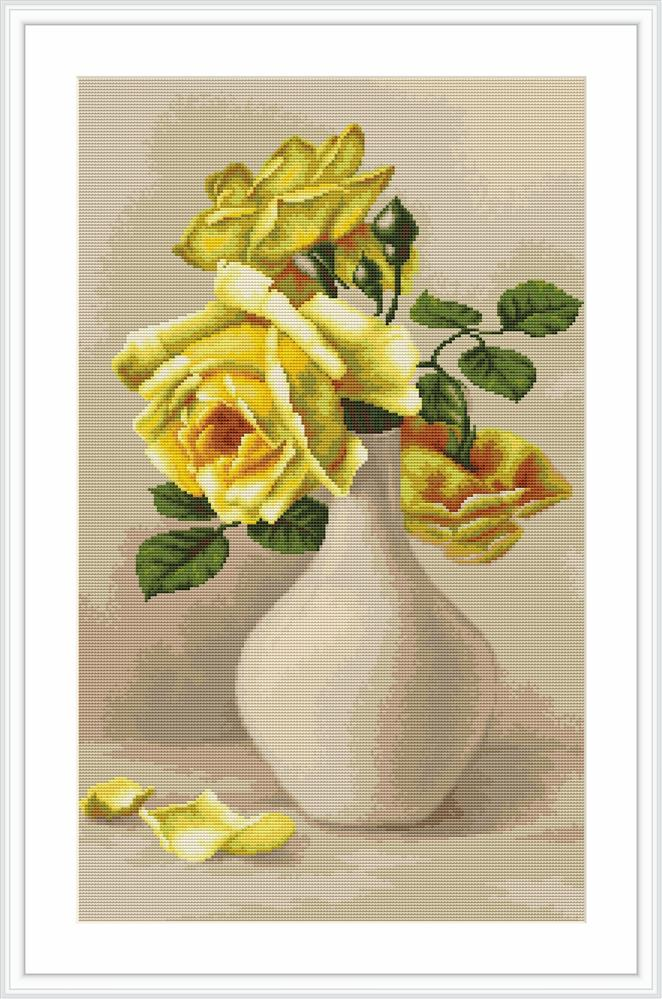 Luca-S Yellow Roses - Petit Point Tapestry Kit