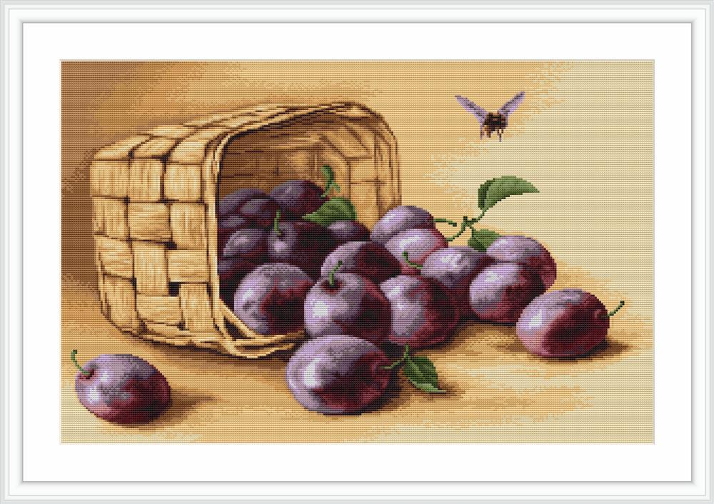 Luca-S Basket of Plums - Petit Point Tapestry Kit