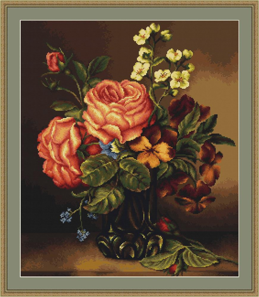 Vase with Roses and Flowers - Petit Point -  Tapestry Kit