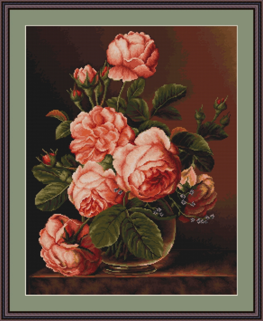 Luca-S Vase of Roses - Petit Point Tapestry Kit
