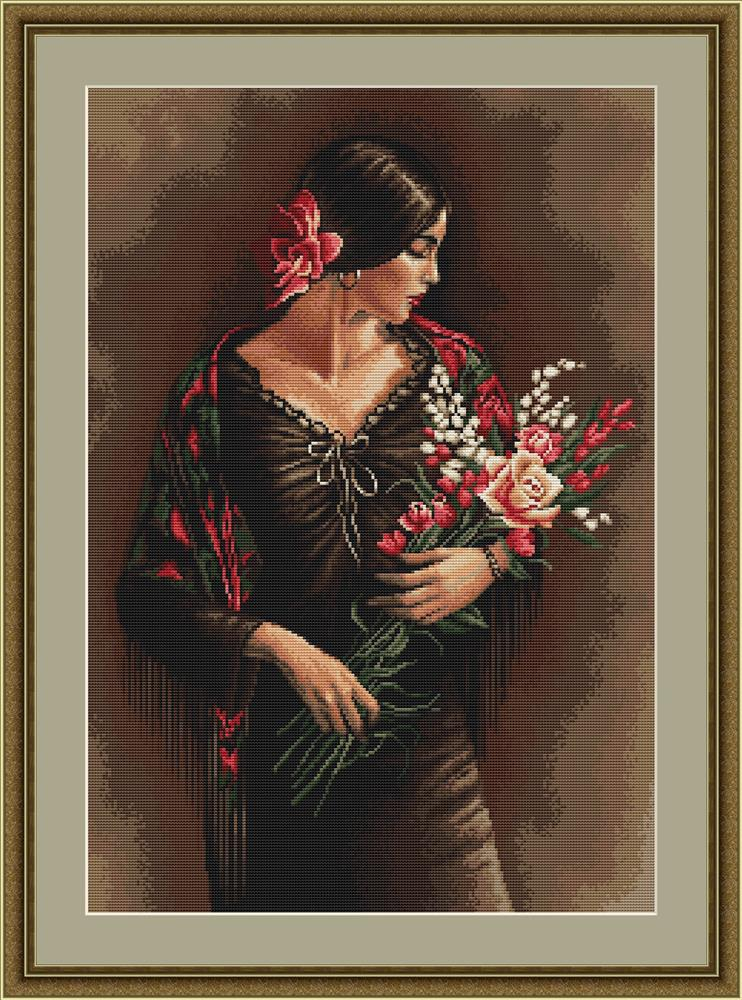 Spanish Lady with Bouquet - Petit Point -  Tapestry Kit