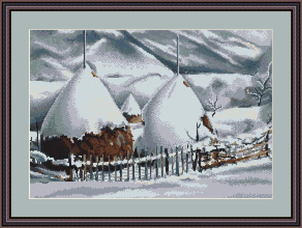 Snow Covered Stacks - Petit Point -  Tapestry Kit