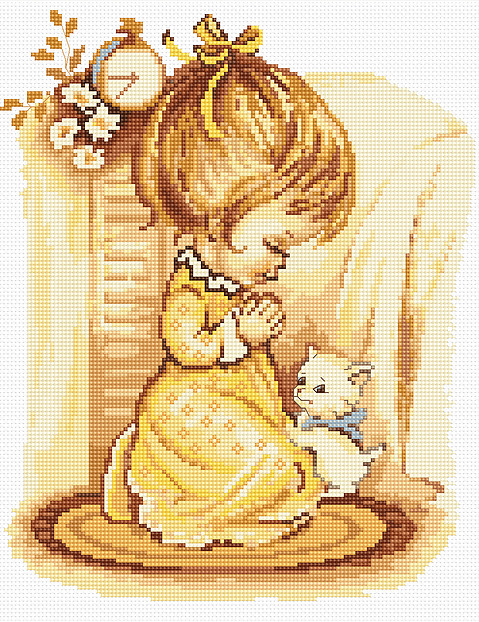 Luca-S Girl Praying Cross Stitch Kit