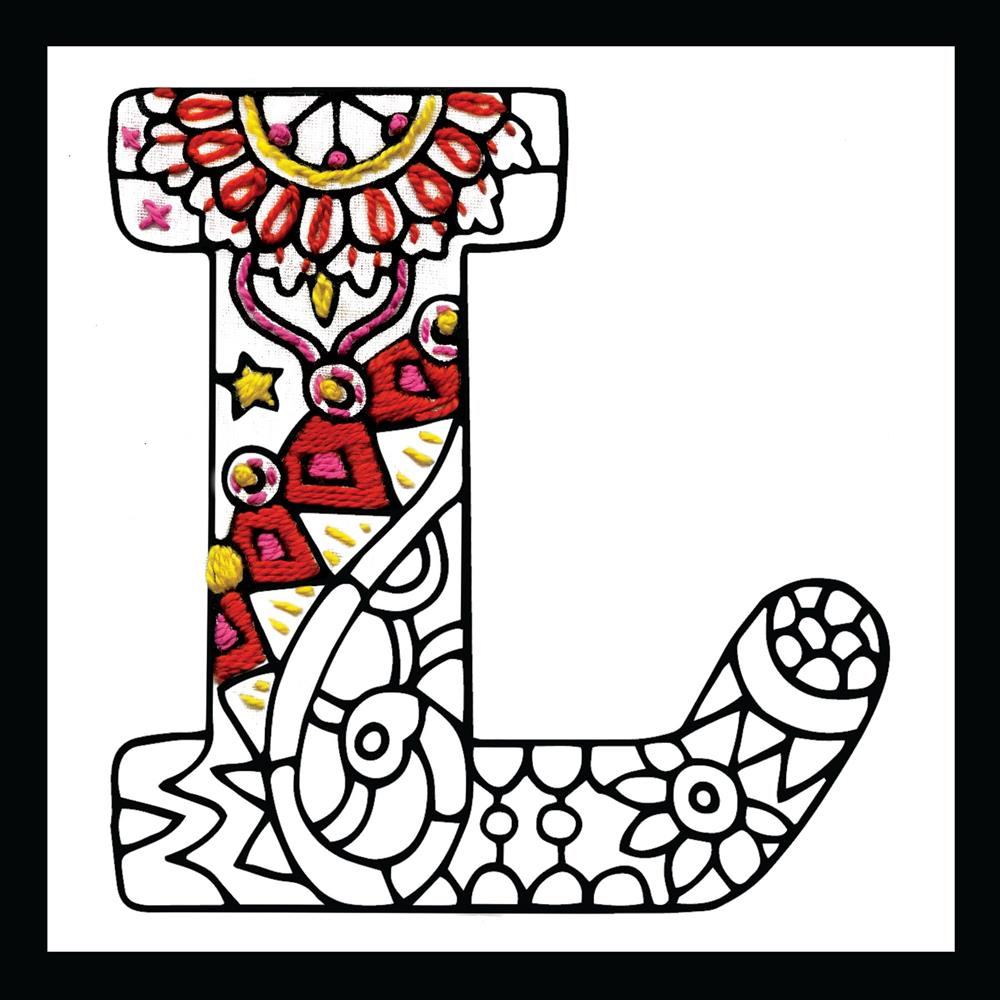 Design Works Crafts Zenbroidery - Letter L Embroidery Fabric