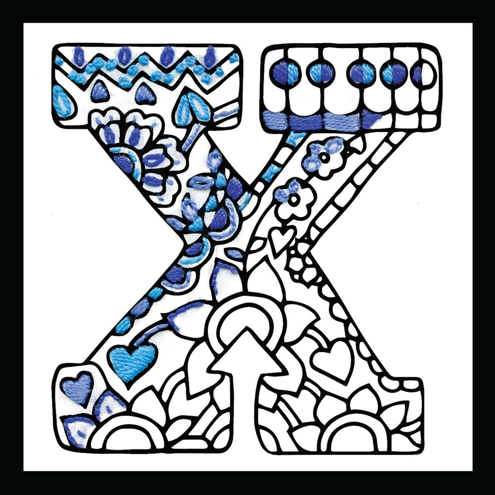 Design Works Crafts Zenbroidery - Letter X Embroidery Fabric