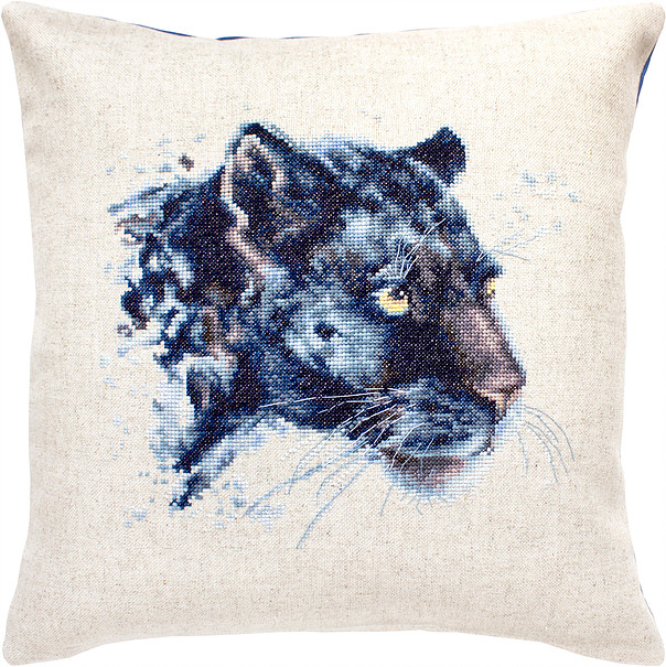 Luca-S Panther Pillow Cross Stitch Kit