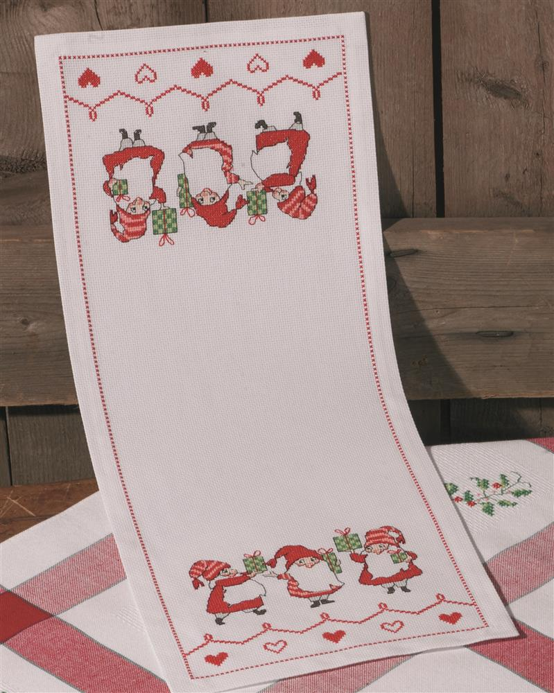Permin Elf and Gift Runner Cross Stitch Kit