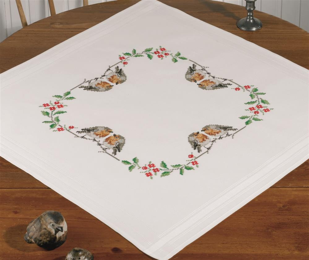 Permin Robin and Holly Tablecloth Cross Stitch Kit