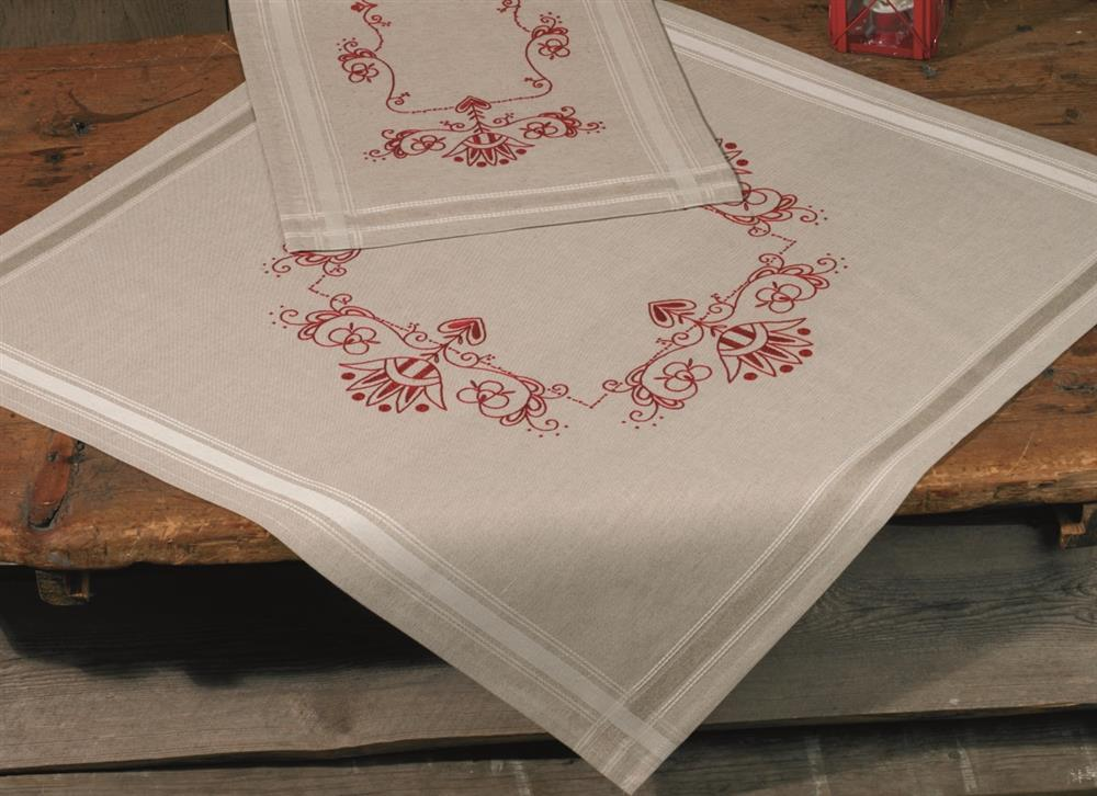 Permin Classic Red Tablecloth Embroidery Kit