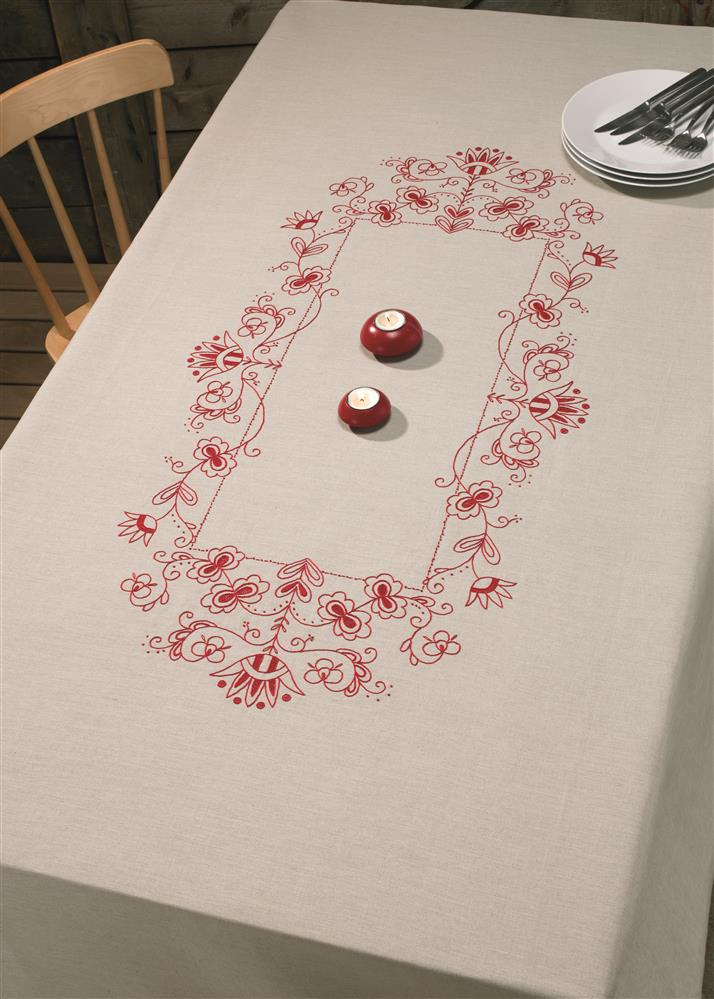 Permin Classic Red Large Tablecloth Embroidery Kit