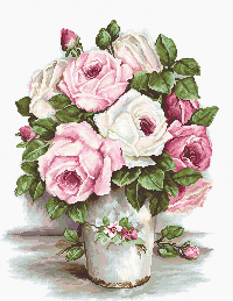 Luca-S Mixed Roses on Aida Cross Stitch Kit