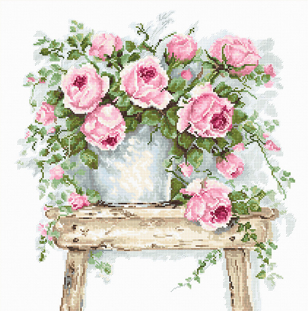 Flowers on a Stool -  Cross Stitch Kit
