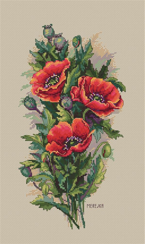 Vintage Poppies on Linen -  Cross Stitch Kit