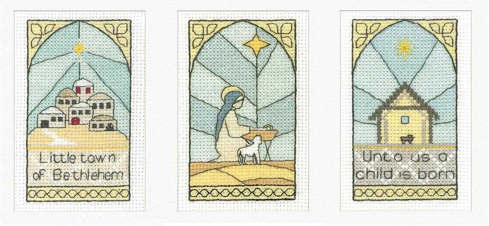Heritage Stained Glass Nativitys Christmas Card Making Cross Stitch Kit