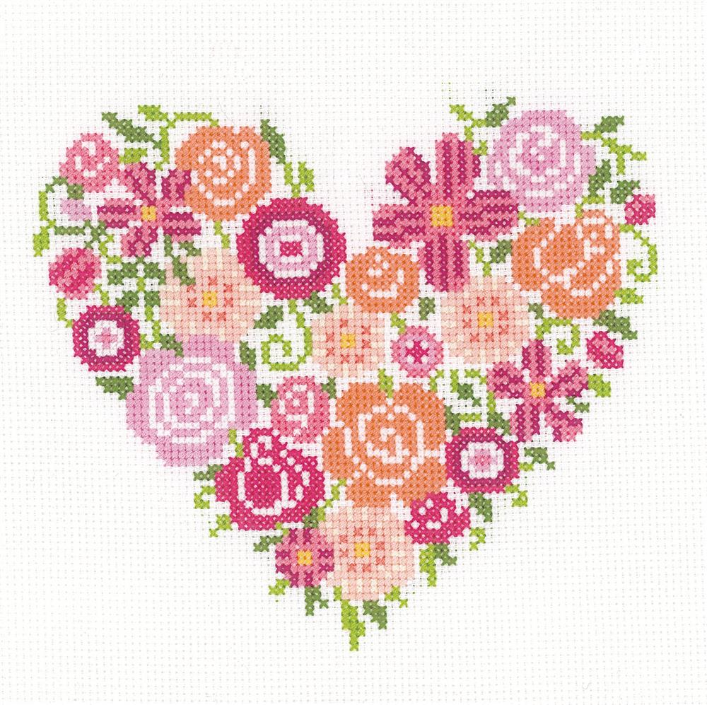 Floral Heart -  Cross Stitch Kit