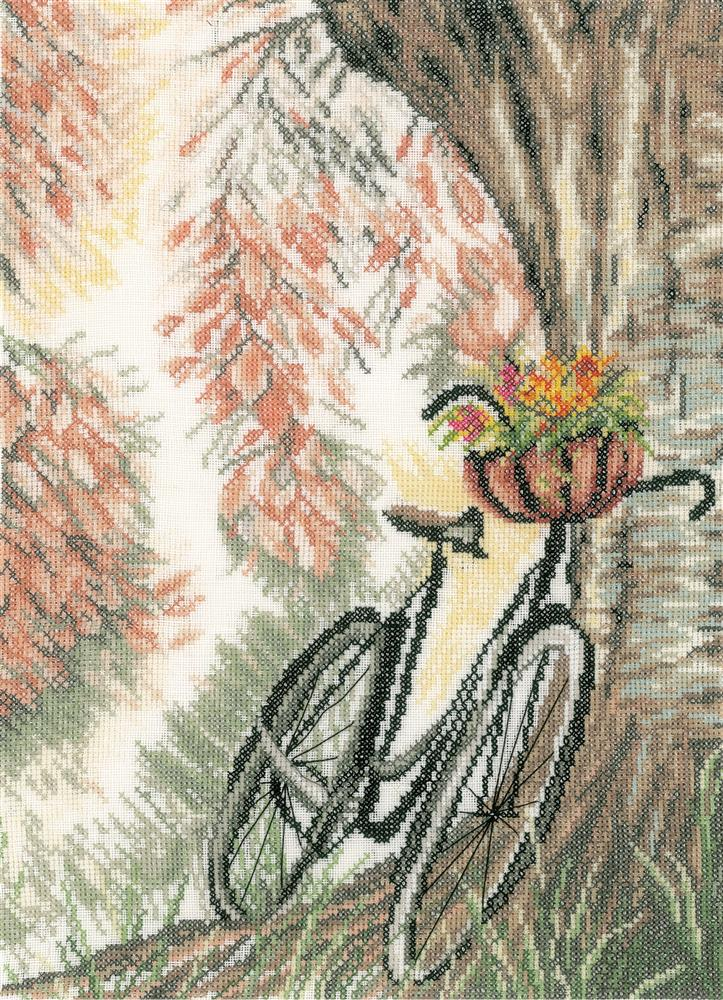 Bike & Flower Basket -  Cross Stitch Kit
