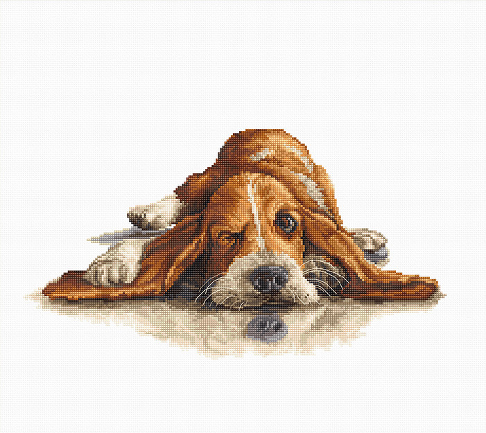 Luca-S Bassett Hound Cross Stitch Kit