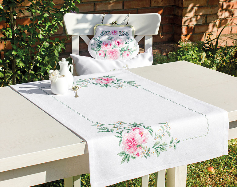 Peony Table Runner -  Cross Stitch Kit
