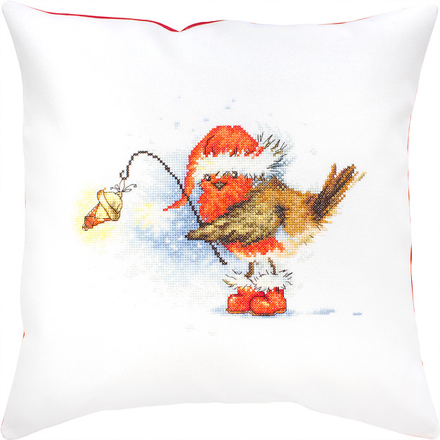 Luca-S Robin with Lamp Pillow Christmas Cross Stitch Kit