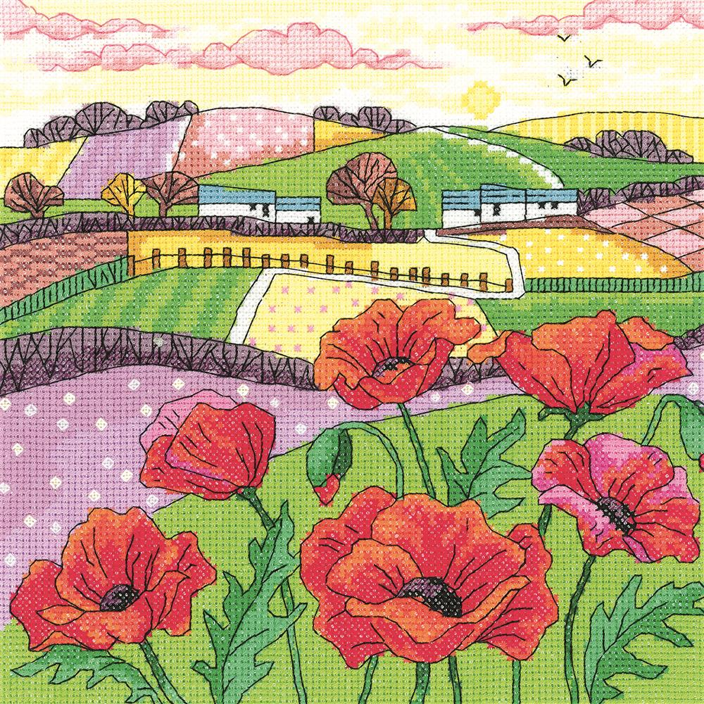 Heritage Poppy Landscape - Aida Cross Stitch Kit