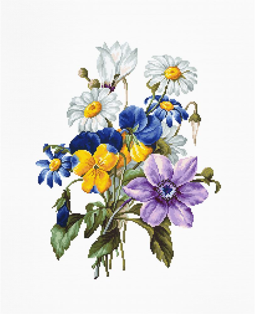 Bouquet with Pansy and Daisy -  Cross Stitch Kit