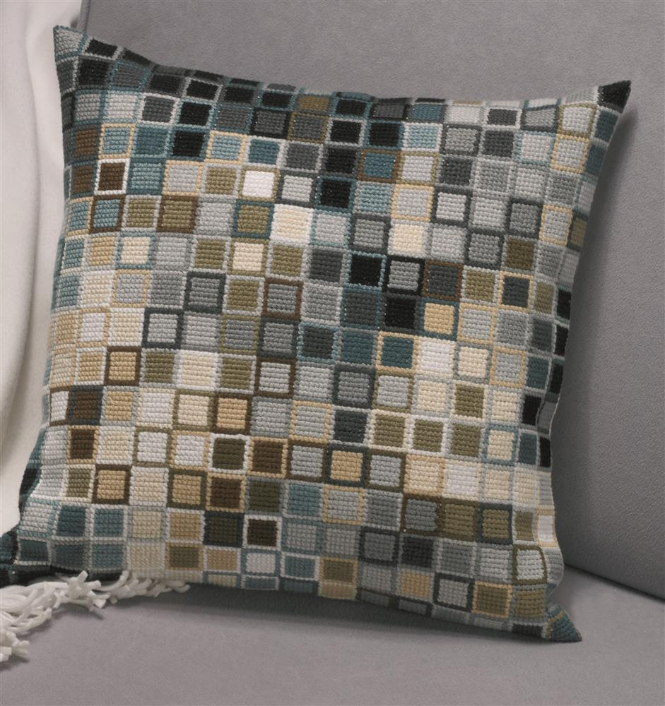 Permin Pixel Cushion - Blue Cross Stitch Kit