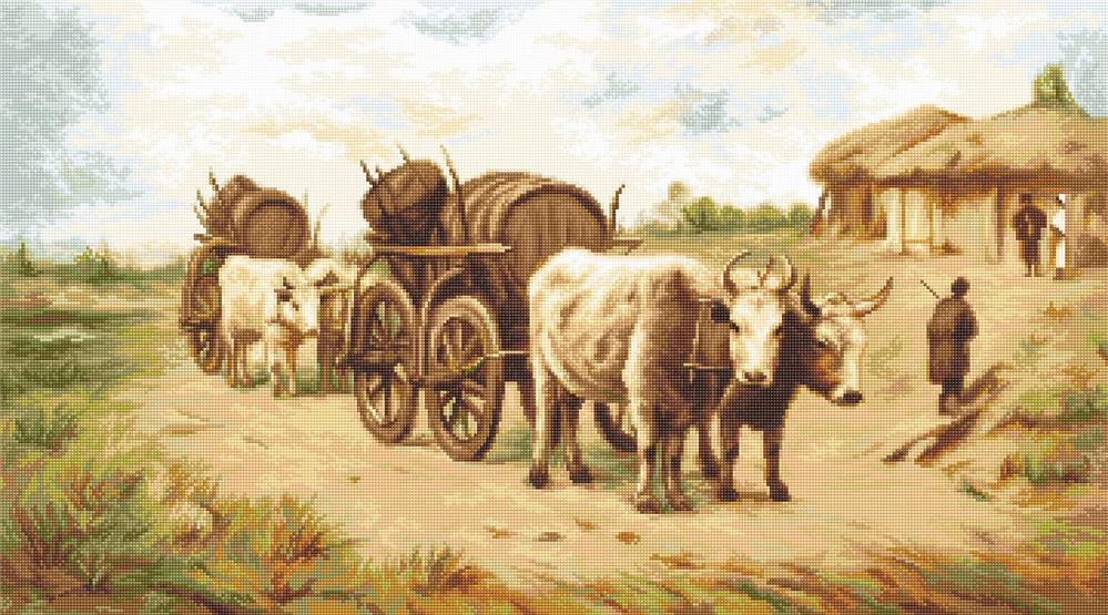 Luca-S Cart with Oxen Petit Point Tapestry Kit