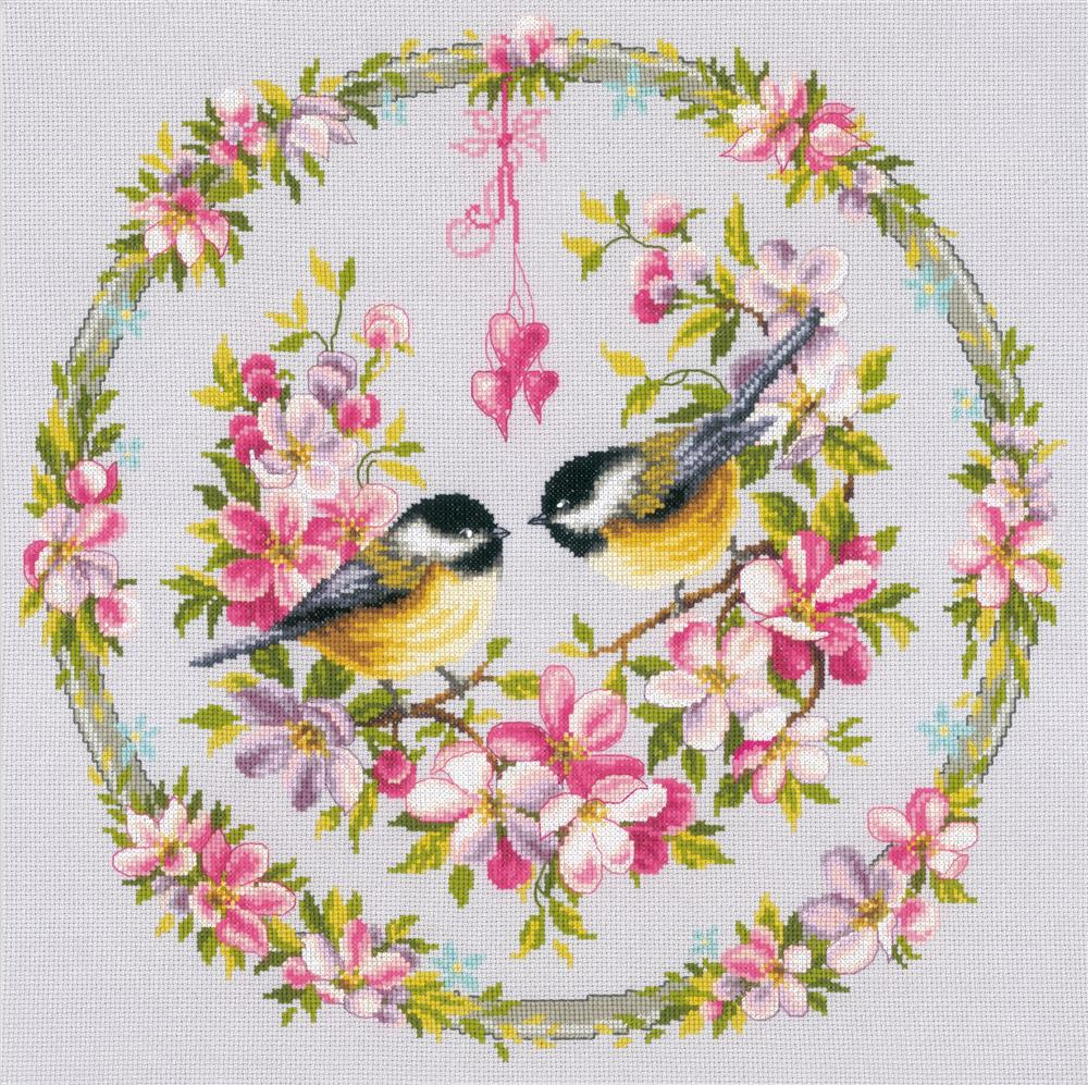 Vervaco Great-Tits in Flower Wreath Cross Stitch Kit