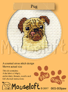 Mouseloft Pug Cross Stitch Kit