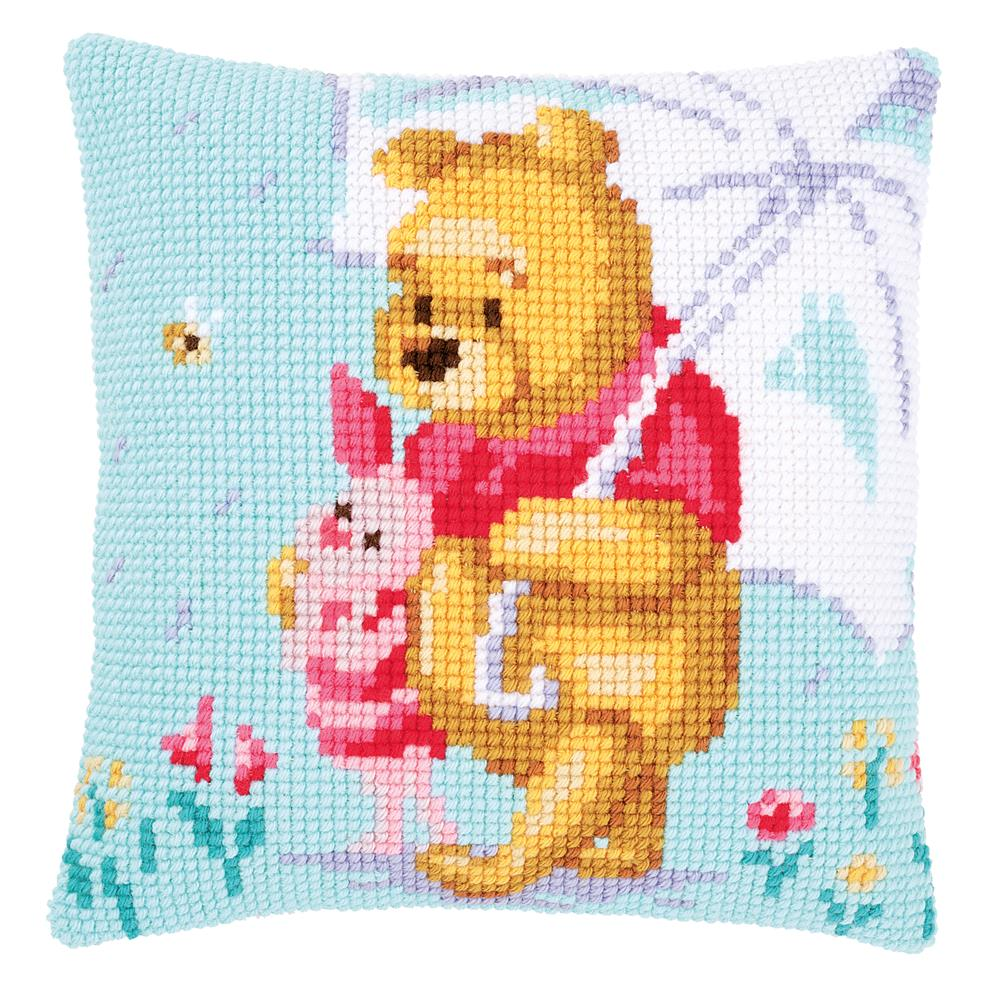 Vervaco Winnie in the Rain Cushion Cross Stitch Kit