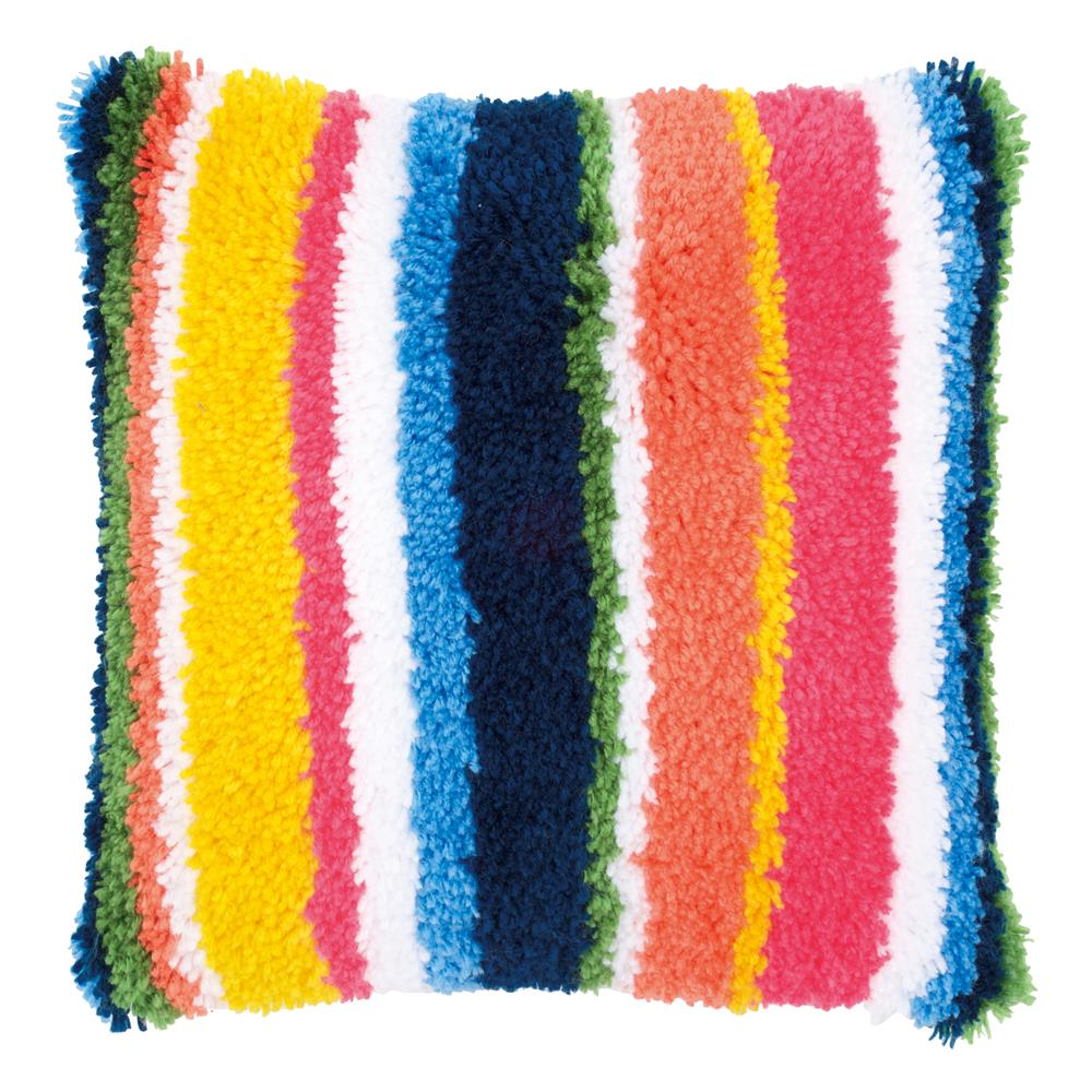 Vervaco Bright Stripes Cushion with Back Latch Hook Cushion Kit