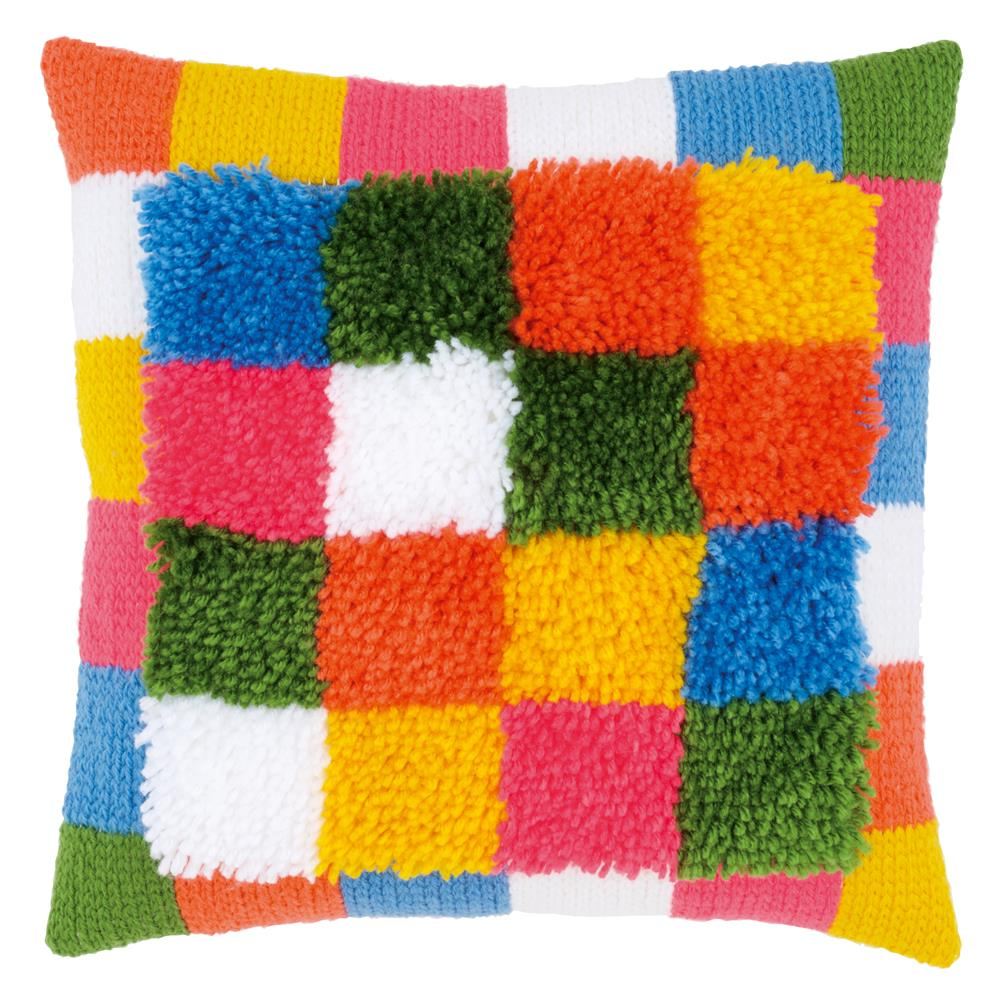 Vervaco Bright Squares Cushion with Back Latch Hook Cushion Kit