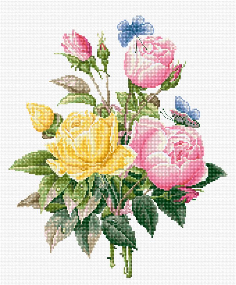 Yellow Roses with Bengal Roses -  Cross Stitch Kit