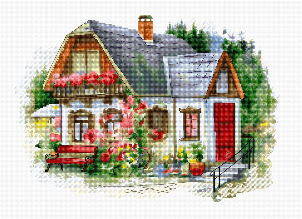 Luca-S Beautiful Country House Cross Stitch Kit