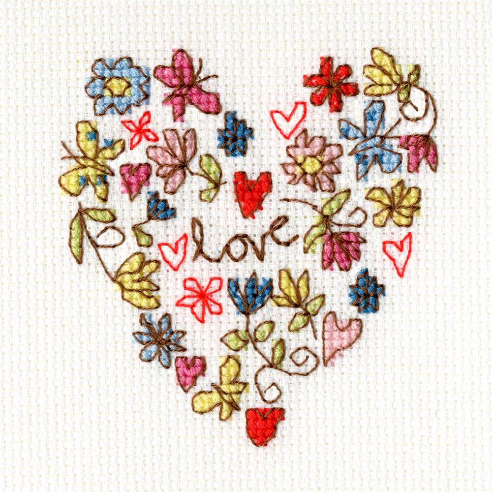 Sweet Heart Card -  Cross Stitch Kit