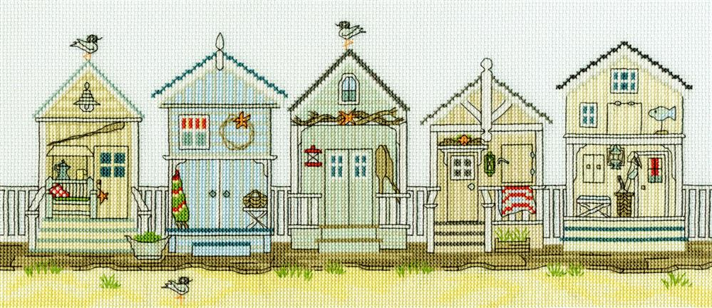 Bothy Threads New England: Beach Huts Cross Stitch Kit