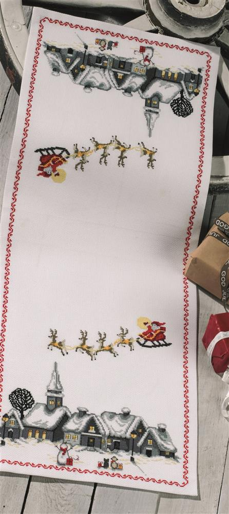 Permin Santa Claus Sleigh Runner Christmas Cross Stitch Kit